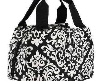 Black Damask,  Lunch Box, Lunch Tote, Thermal Insulated, Monogramed