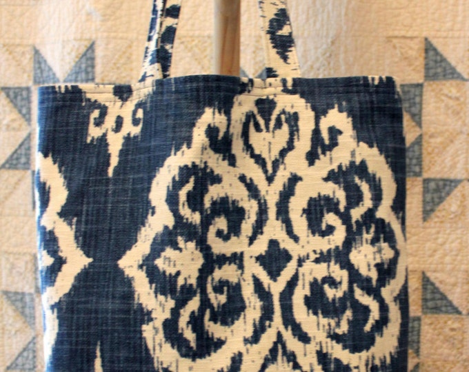 HALF PRICE ** Navy Blue and White Fabric Tapestry Tote Bag. Lined Reusable Bag. Large Canvas Purse. Diaper Bag. Shoulder Computer Bag