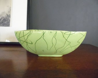 Midcentury Chartreuse Ceramic Pottery Planter, Ceramic Dish with Drizzle, Green Spaghetti Strings, Spiderweb Pot, Jackson Pollock Style