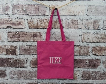 Pi Sigma Sigma Pink Embroidered Eco Friendly Recycled Tote
