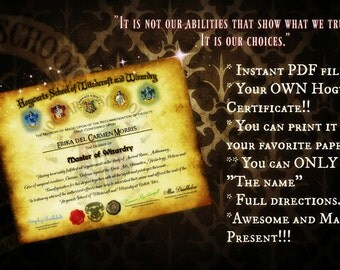 EDITABLE Hogwarts School of Witchcraft and Wizardry CERTIFICATE!!!