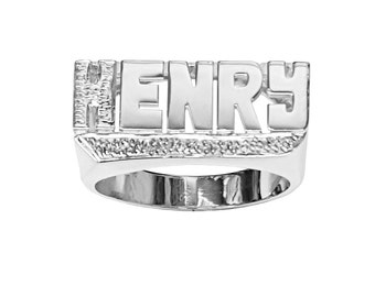 SNS126iL Sterling Silver Large Block Latter Diamond-Cut Accent Tail Name Ring