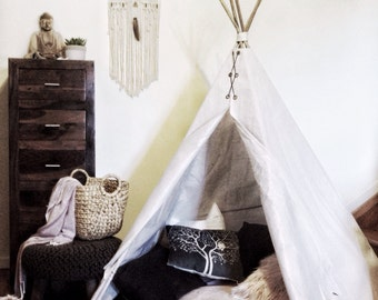 Childrens Canvas Teepee kids play tent cubby house; 1.5m high x 1.35m wide, cotton canvas, handmade wigwam, tipee, TENT ONLY
