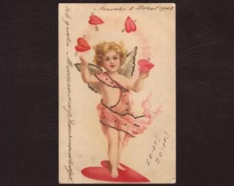 Cupid juggling hearts, German edwardian postcard - Angel, cherub, valentines day, lithograph, vintage, antique greeting card - 1903 (V6-40)