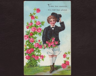 A boy and a rose bush, German postcard - Edwardian, lithograph, chromo, antique postcard, vintage greeting card - 1905 (V7-19)