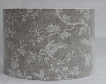 Handmade white birds in branches printed on natural 100% linen drum lampshade