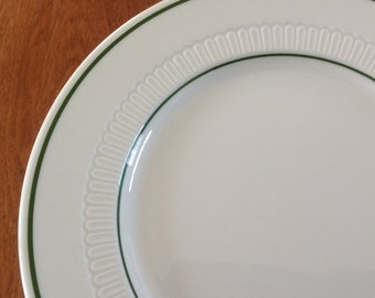 "Six (6) Syracuse China 7-3/8"" Green Stripe Embossed Dessert / Bread Plates Restaurant Ware"