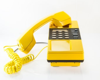 Vintage Yellow GE Phone with Twisted Yellow Cord, Mount on a Wall, Made in Japan