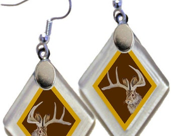 "Earrings ""Jackalope"" (Brown & Gold) from rescued, repurposed window glass~Lightening landfills one tiny glass diamond at a time!"