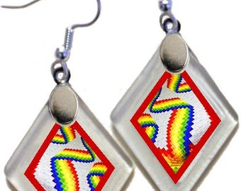 "Earrings ""Quilts: Bargello"" from rescued, repurposed window glass ~ Once A Window!"