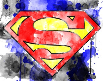 Watercolor Superman symbol--digital print