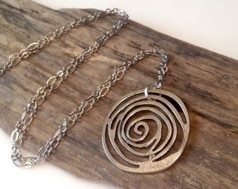 Long silver necklace etsy boho necklace large pendant necklace long silver necklace spiral pendant fun necklace aloadofball Image collections