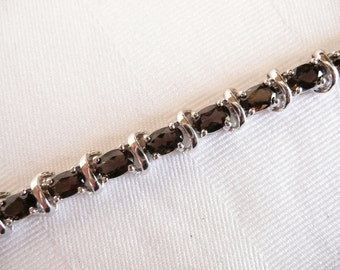 925 Silver and Smokey Topaz Colored Faceted Stone Bracelet