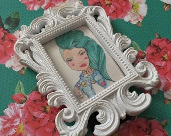 "Original Illustration Framed Mini Print ""Bad"" (Charming Lovettes)"
