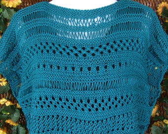 Boxy lace top, open work sweater, crop top, teal green knit openwork sweater, lightweight knit top