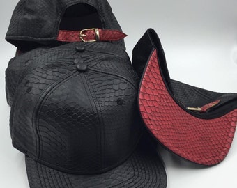 Black snakeskin leather hats