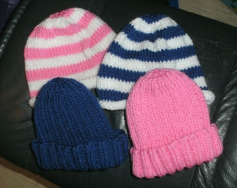 Hand knitted baby aran hats