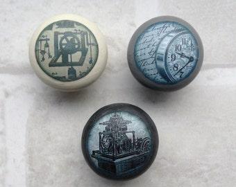 Steampunk handles| decoupaged drawer handles | drawer knobs | steampunk decor | |drawerpulls