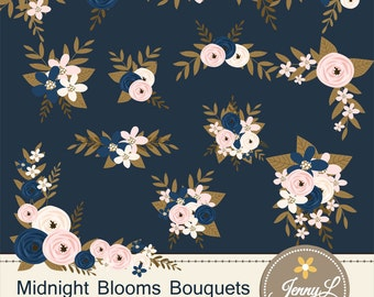 Navy Blue Flower Bouquet Clipart, Blush Wedding Flowers, Flower Bunches, Floral Arrangement for digital Scrapbooking, Wedding, Birthday