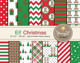 Elf Christmas Digital Papers, Christmas Tree Papers, Christmas gifts, Holiday Digital ScrapbookingPaper, Red and Green Christmas