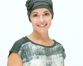Women's Chemo Headwear | Hats for Cancer Patients | Olive Green Beanie Hat | Chemo Hats in many colours | Head coverings for chemo - sized