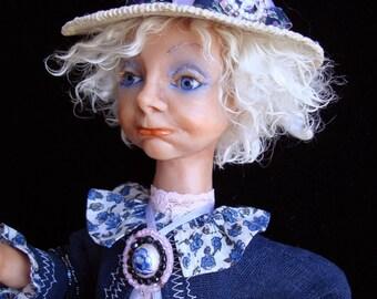 """Art Doll OOAK, interior toy """"Indigo Iris"""", handmade gift, art toy, sad face girl in indigo color, collection doll"""