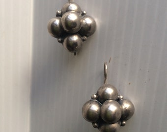 Vintage Mexican Silver Ball Cluster Dangle Earrings