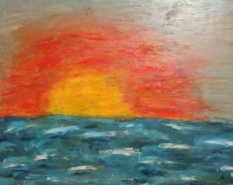 Sunrise seascape vintage oil painting