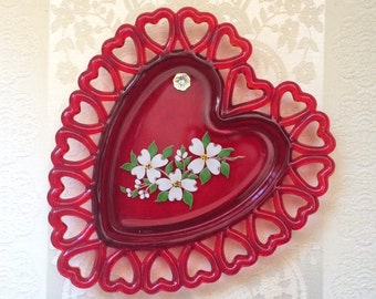 Vintage Westmoreland Ruby Red Glass Heart Dish with Dogwood Transfer Image and Rim of Cutout Hearts