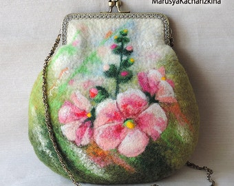Discount 10% Handmade felted purse, wool purse, cosmetics bag, pouch, case, crossbody bag, purse with flowers