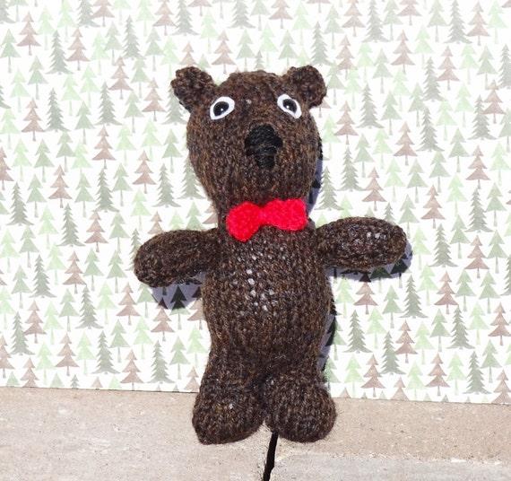 Knitting Patterns Teddy Bear Stuffed Animals : Knitted Bear Stuffed Animal Small Bear Kids Toy Teddy