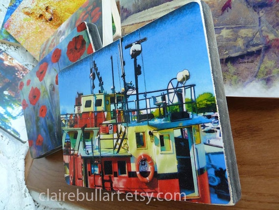 Art Print, Boat, Tugboat, Red Workboat, Colorful Print, 5x7, Wood Art, Boat Photography, Marine Art, Nautical, Art, Canadian, Claire Bull