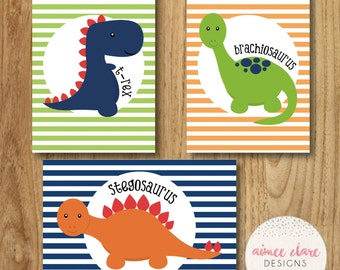 3 x A4 Children's Dinosaur Wall Art / Dinosaur Prints - perfect for children's bedroom