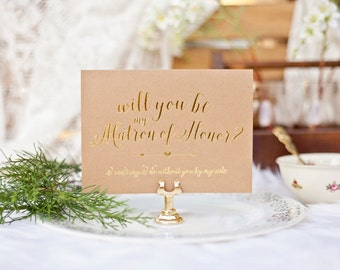 Will You be My Bridesmaid? Bridal Party Invitations - Gold Foil & Kraft