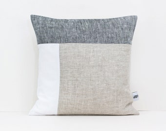 mid century pillow geometric cushion color block pillow in dark gray white and