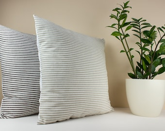 Beige and White Stripe Linen Pillow Cover  - Decorative throw pillow - Linen pillow shams - Modern Home Decor - Decorative pillows for bed