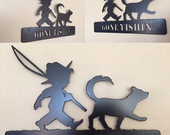 Gone Fishing Boy and Dog Metal Wall Art Decor