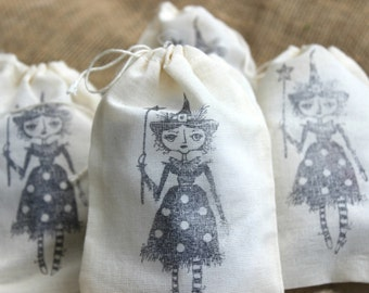 Halloween Party Favor - Halloween Treat Bag  - Witch Treat Bag -  Witch Party Favor - Trick or Treat Candy - Hand Stamped Muslin Bag - Witch