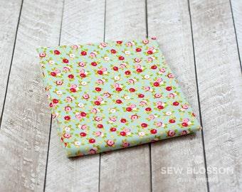 Farm Girl Pie Tins TEAL Floral Fabric - Riley Blake Designs C5025