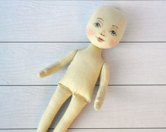 "Blank doll body-9"",  blank rag doll, ragdoll body,the body of the doll made of cloth"