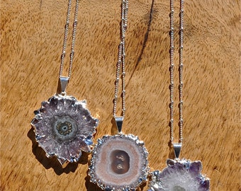 2018 Trends ~ February birthstone silver amethyst stalactite Flower Pendant necklace, Silver ncklaces with stones