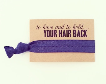 Navy Blue Bridal Shower Hair Tie Favor | To Have and To Hold Your Hair Back | Navy Blue Wedding Shower, Bachelorette Party Hair Tie Favors