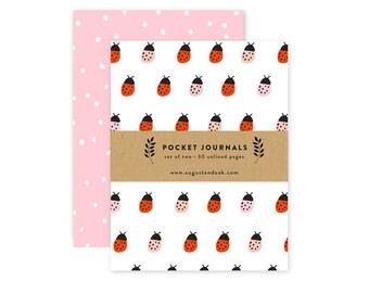 Pocket Journal Set, Mini Notebooks Set of 2, Ladybug Pattern