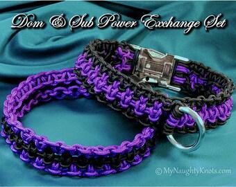 Dom & Sub Power Exchange Collar Set, elegant hand knotted dress BDSM collars with lockable sub collar
