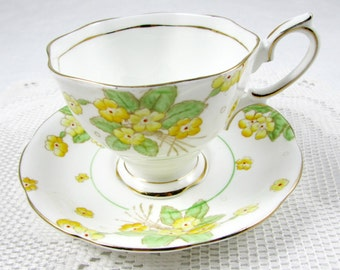Vintage Royal Albert Tea Cup and Saucer, Bone China, Hand Painted Yellow Flowers