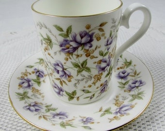 """Royal Albert Rose Chintz Series """"Purple Lace"""" Small Tea Cup and Saucer, Coffee Cup, Cappuccino Cup"""