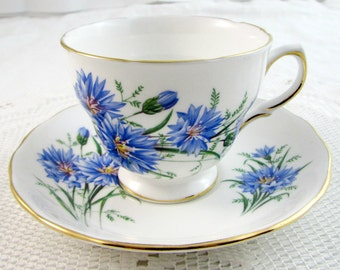 Royal Vale Tea Cup and Saucer with Blue Flowers, Vintage Bone China