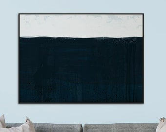 Large Abstract, Minimalistic Painting, Printable Art, 'Deep Sea' Large Art Prints, A1 size, 23.4 x 33.1 in Dark Navy, hand painted