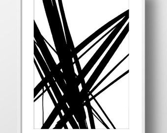 Abstract painting. Ink Painting print, minimal printable art, Digital Download, black and white
