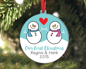 Personalized Snowman Christmas Ornament, Double Sided